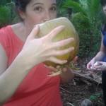 Clare enjoy a local drink
